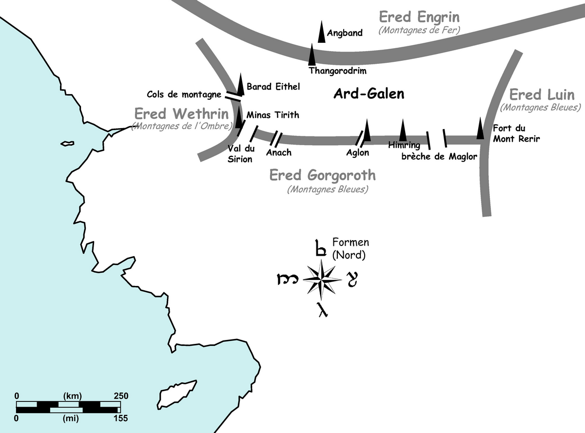 Figure 5. Situation de la plaine d'Ard-Galen en Beleriand.