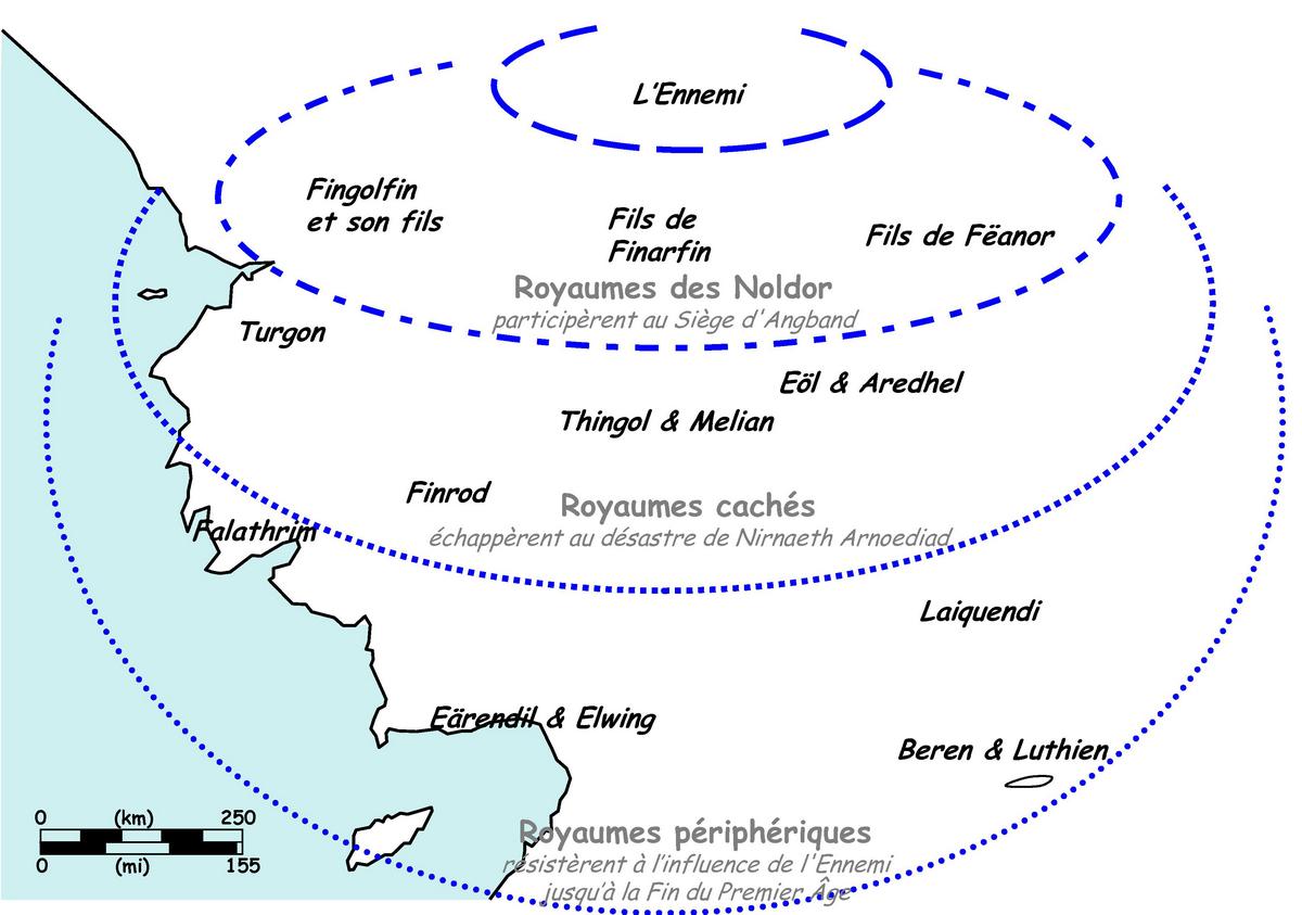 Figure 7. Organisation géographique concentrique des Royaumes Elfes autour d'Ard-Galen.
