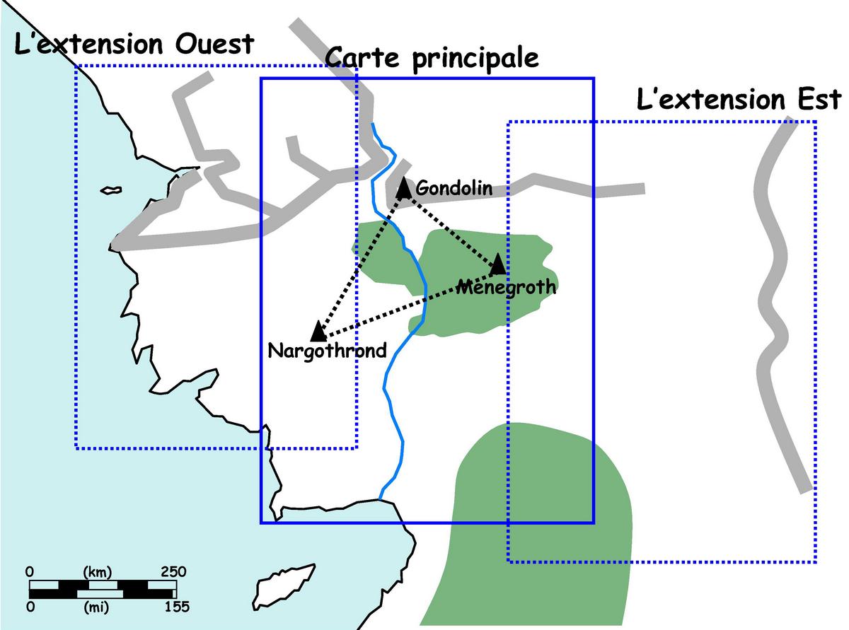 Figure 8. Zones géographiques couvertes par la « première carte du Silmarillion ».
