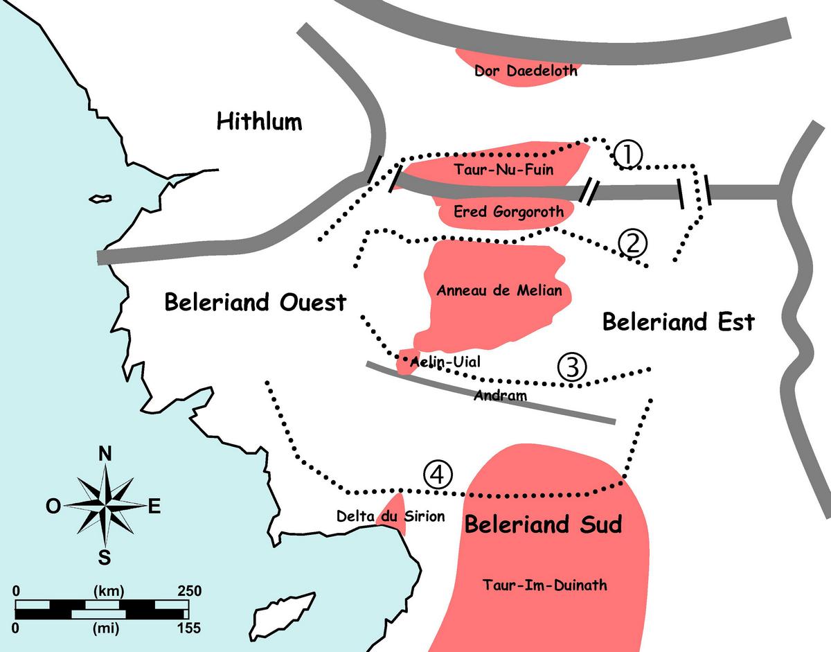 Figure 10. Division est-ouest du Beleriand par les territoires inhospitaliers ou sauvages.