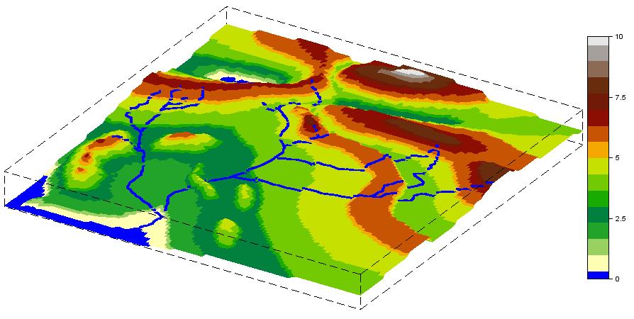 Figure 12. Reconstruction tridimensionnelle de la Première Carte du Silmarillion à partir des courbes de niveau.