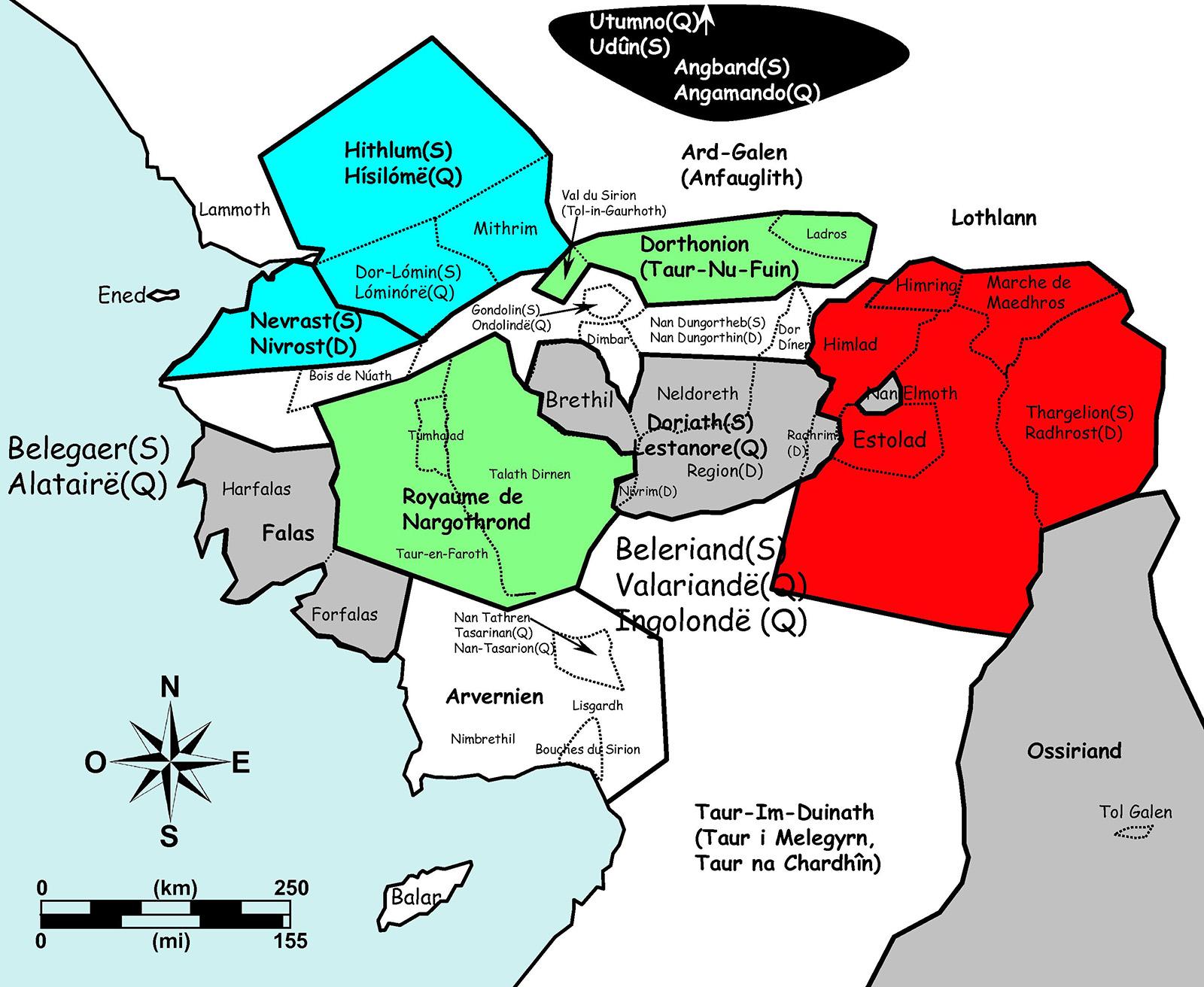 Figure 1. Principales divisions géographiques et politiques du Beleriand.