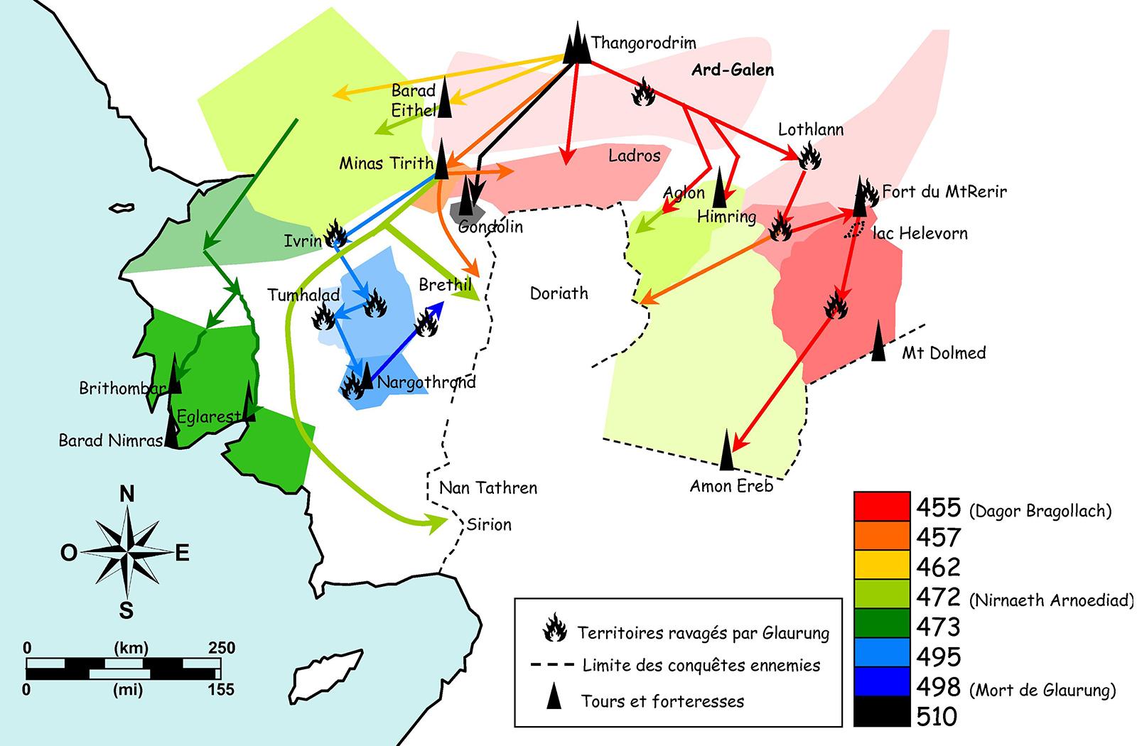 Figure 11. Territoires conquis par l'Ennemi après la fin du Siège d'Angband.