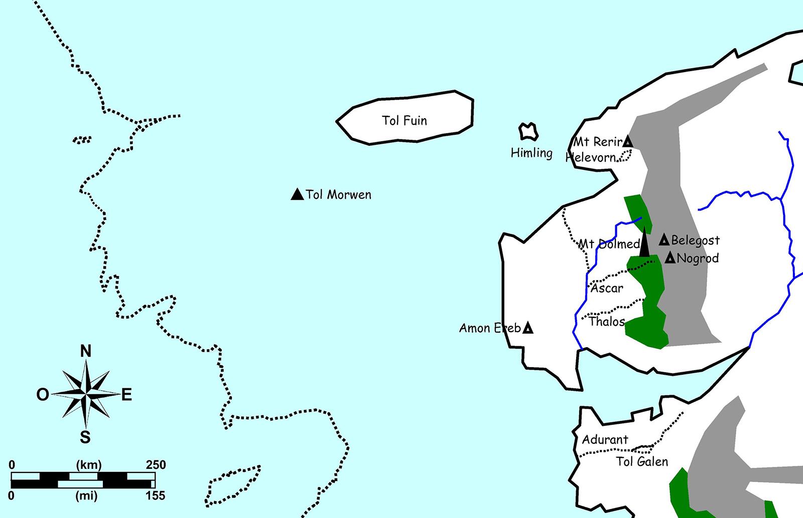 Figure 15. Essai de superposition du Beleriand et de la Terre du Milieu au Troisième Âge.